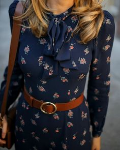 Navy floral tie-neck maxi dress with navy suede stiletto pumps, a brown leather . Spring Fashion Casual, Modest Fashion, Hijab Fashion, Autumn Fashion, Fashion Outfits, Long Sleeve Maxi, Maxi Dress With Sleeves, Floral Maxi Dress, Floral Tie