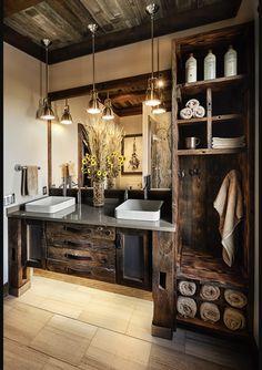 Trending: Remote Luxury – Inspired by Marvin Rustic Bathroom Designs, Bathroom Interior Design, Rustic Cabin Bathroom, Log Cabin Bathrooms, Lodge Bathroom, Log Cabin Kitchens, Rustic Bathroom Lighting, Craftsman Bathroom, Rustic Bedrooms