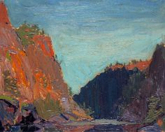 tom thompson...Underpainting & Brushstroke angles. Could this be of the Bowren Canyon in Algonquin!? Sure looks like it!