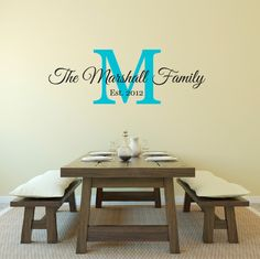 Family Name Wall Decal Monogrammed Vinyl Lettering Established - Custom vinyl lettering wall decals