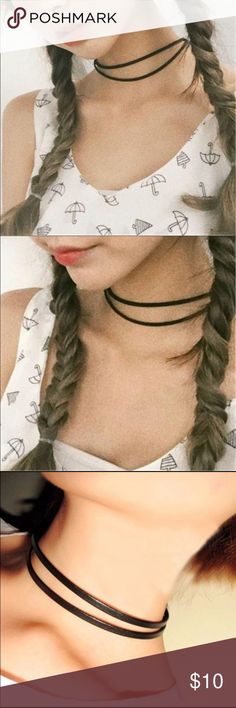 🎀NEW CHOKER🎀 2 layer leather choker. It's fashionable and cute💝 the 4th picture shows the gold chain...the actual choker comes in silver. Jewelry Necklaces