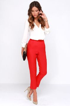 Fashion fads come and go, but your love for a classic staple like the Trouser We Go Red High-Waisted Pants, will never fade! These high-waisted trousers, in a soft woven-poly blend, have a banded waist that tops a series of delicate pleats that fall into diagonal slit pockets. The slightly tapered legs keep this look chic and clean. Hidden side zipper with clasp.