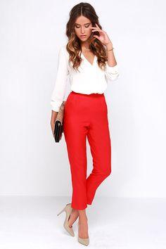 Plancha We Go Red de talle alto de los pantalones en Lulus.com!