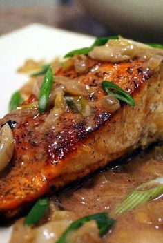 Spicy Salmon with Caramelized Onions ~ I never thought caramelized onions would taste so good with salmon - this combination is very good