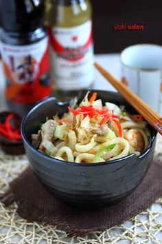 Yaki-udon - uses Mizkan (Bonito Flavor) Soup Base and Mizkan Mirin