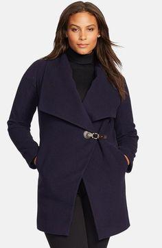 Navy Lauren Ralph Lauren Tab Front Asymmetrical Wool Blend Coat (Plus Size)