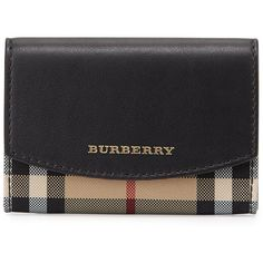 Burberry Chesham Horseferry-Check Card Case (8.690 UYU) ❤ liked on Polyvore featuring bags, wallets, accessories, purses, bolsa, burberry, black, burberry bags, leather bags and snap closure wallet