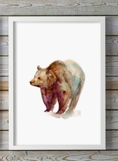 Grizzly bear Art  watercolor painting  Giclee Print  by Zendrawing
