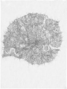 Prendergast's cities - pencil drawings of fine line marks which delineate waterways and roads. this series of maps made into meaning for an artist.