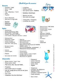 Check list vacances offerte par Marie-Maguelone Plus