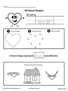All About Heart Shapes Worksheet.Learn all about the heart shape in this math printable worksheet. Practice tracing, drawing, and coloring pictures of heart shapes.