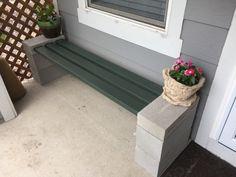 DIY cinder block and 2x4 bench
