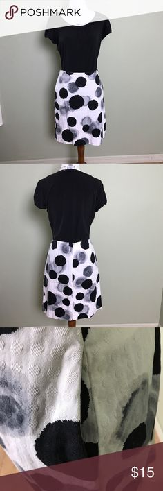 Chelsea & Theodore Polka Dot Skirt with Pockets Chelsea & Theodore Black, White, & Gray Polka Dot Skirt. Zipper on back. 2 side pockets. Pre-owned. No stains. Minor imperfection on back but hard to see (see 4th image). Some of the seam is coming lose (see 5th image) Comes from smoke free home.  Made of 97% Cotton & 3% Spandex. Size 6 Measurements: Waist flat across is approximately 15.5 inches.  Length from top of skirt to bottom hem is approximately 18.25 inches. ***Does not include black…