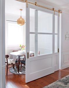 Double Sliding Barn Doors, Sliding Glass Door, Barn Door With Glass, Barn Door With Window, Home Office Design, House Design, Bypass Barn Door Hardware, Barn Door Designs, Internal Doors