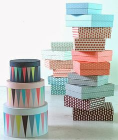 geometric patterned boxes for organization