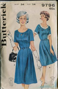 Butterick 9796  Vintage 1960 Dress Pattern - I'd sew both, exactly in those colours