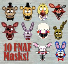 Five Night's At Freddy's 10 Masks Prop Set & 4 BONU/ Pho to Booth Printable - Photo Booth, Costume or Party Favor Birthday Party Decorations, Party Favors, Room Decorations, Birthday Parties, Fnaf Costume, Cupcake Images, Five Nights At Freddy's, Boy Birthday, Toddler Girls