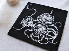 Dark floral rose sew on patch labor free/original