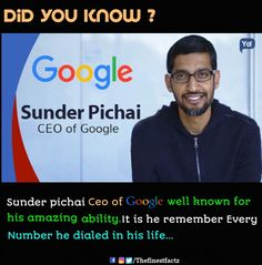 Amazing memory of Sunder Pichai True Interesting Facts, Some Amazing Facts, Interesting Facts About World, Intresting Facts, Unbelievable Facts, Wow Facts, Real Facts, Wtf Fun Facts, True Facts