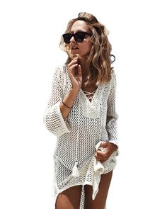 Women's Clothing Beautiful Summer V Neck Flare Sleeve Women Ruffle Blouse Vintage Handmade Crochet Loose Beach Cover Up Swimwear Bikini Cover Ups