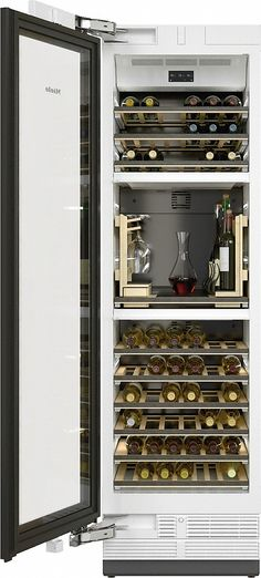 This 24 MasterCool series wine cooler by Miele comes with triple zones and Sommelier set. It also features automatic door. MasterSensor and MaxLoad hinge. Wooden Rack, Door Hinges, Energy Star, Glass Door, Wine Rack, Innovation, Storage, The Unit, Haku