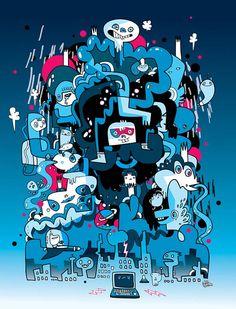 Cool Doodles, Kawaii Doodles, Collage Illustration, Character Illustration, Doodle Designs, Doodle Ideas, Tag Street Art, Vexx Art, Office Mural