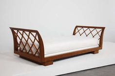 View 'Alexandrie' daybed by Jean Royère sold at Design on 25 Sept London. Wooden Living Room Furniture, Deco Furniture, Unique Furniture, Home Decor Furniture, Sofa Furniture, Furniture Design, Sofa Cumbed Design, Daybed Design, Wooden Sofa Set Designs