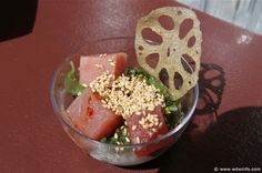 Hawaii - Tuna Poke with Seaweed Salad and Lotus Root Chips