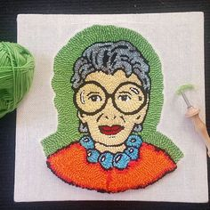 Photos and Videos Punch needle piece by Iris Loos. Tambour Embroidery, Hand Embroidery Stitches, Diy Embroidery, Embroidery Patterns, Hand Stitching, Hook Punch, Yarn Bombing, Wool Applique, Punch Needle