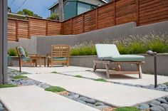 Modern Patio Design, Gray Retaining Wall, Privacy Fence Patio Ecotones Landscapes Cambria, CA