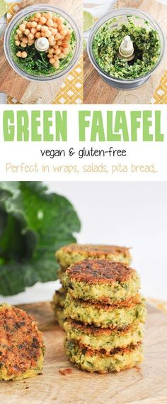 Recipe for vegan & gluten-free Green Falafel. Super easy and quick to make, don't require soaking of the chickpeas. Yield about 12 Falafel. Veggie Recipes, Whole Food Recipes, Vegetarian Recipes, Cooking Recipes, Healthy Recipes, Healthy Dinners, Gf Recipes, Veggie Food, Vegan Recipes Spinach
