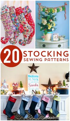 More than 20 Free Christmas Stocking patterns. Learn how to make cute and simple Christmas stockings with these free sewing patterns. Easy Sewing Projects, Sewing Projects For Beginners, Sewing Hacks, Sewing Crafts, Diy Crafts, Sewing Tips, Sewing Tutorials, Noel Christmas, Christmas Projects