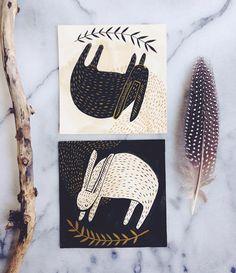 """#dailykelzuki2015 209 and 210/365 spirit rabbits (or rabbit spirits) #gouache #illustration"""