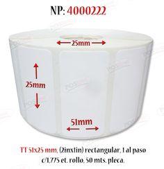 Etiqueta, transferencia termica, 51x25mm rectangular (2inx1in), 1 al paso, c/1,775 et./rollo, 50 mts.  4000222 posline