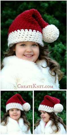 Free Crochet Pattern - Makes sizes Newborn - Adult. Bring the Joy of Christmas into your crocheting! So magical and festive, Kris Kringle himself would approve! Easy & fun to crochet! Using super bulky yarn makes this such a quick project. Crochet Hat With Brim, Easy Crochet Hat, Bonnet Crochet, Crochet Simple, Crochet Beanie, Crochet For Kids, Crochet Crafts, Yarn Crafts, Crochet Projects