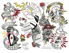 ROCKY HORROR Picture Show Tattoo Flash Sheet by Kristyn Michele Bat