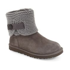 Women's Ugg 'Shaina' Knit Cuff Bootie ($113) ❤ liked on Polyvore featuring shoes, boots, ankle booties, grey suede, short booties, cuff ankle boots, grey boots, strappy booties and grey ankle boots