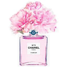 ART PRINT Pink No 5 Perfume Bottle Vase Peonies Roses Flowers Chanel... ❤ liked on Polyvore featuring home, home decor, wall art, rose watercolor painting, pink wall art, rose paintings, watercolor wall art and chanel