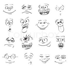 Set of cartoon emotion on faces stock photo
