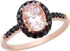1.5 Carat Morganite and black diamon 14k pink gold ring $455 ice.com