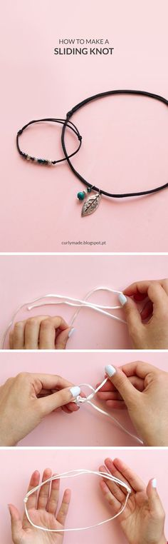The best DIY projects & DIY ideas and tutorials: sewing, paper craft, DIY. Best Diy Crafts Ideas For Your Home How to Make a Sliding Knot Hemp Jewelry, Jewelry Knots, Jewelry Crafts, Beaded Jewelry, Unique Jewelry, Inexpensive Jewelry, Nautical Jewelry, Trendy Jewelry, Turquoise Jewelry