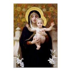 William Adolphe Bouguereau, Christmas Poster, Kids Poster, Madonna And Child, Antique Paint, Holiday Postcards, Our Lady, Custom Posters, Postcard Size