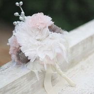 Handmade Wedding Bouquet with feather flowers and fabric flowers.