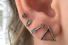 Nala Geometric Shapes Ear Cuff Earring Set 4pcs in Antiqued Brass