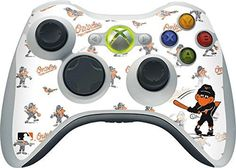 MLB Baltimore Orioles Xbox 360 Wireless Controller Skin - Baltimore Orioles - Oriole Mascot - Repeat Distressed Vinyl Decal Skin For Your Xbox 360 Wireless Controller