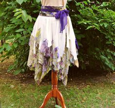 Tattered Moving Skirt Mori Girl Romantic Ivory Ecru Green Violet Upcycled Woman's Clothing Funky Style Shabby Chic Eco Friendly