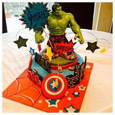 Marvel avengers birthday cake, superheroes Hulk, hulk smash, Captain America, Ironman,Thor.....including Captain Americas shield, buildings and brick wall....all edible from NALO'S BAKERY.....feel free to pin