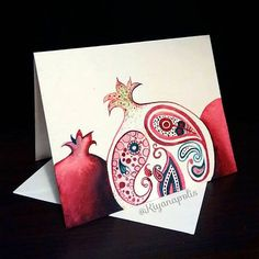 Persian pomegranate card - Shabe Yalda card - Yalda night - winter solstice