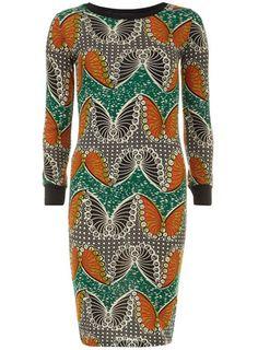 Green butterfly midi dress