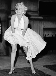 Marilyn Monroe's smooth legs, air vent skirt pose: 'The Seven Year Itch' 1955 http://www.imdb.com/title/tt0048605/?ref_=sr_1  http://en.wikipedia.org/wiki/The_Seven_Year_Itch